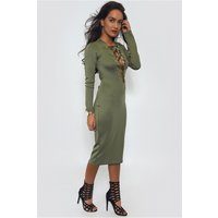 Khaki Lace Up Bodycon Midi Dress