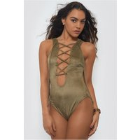 Lace Up Khaki Suede Bodysuit