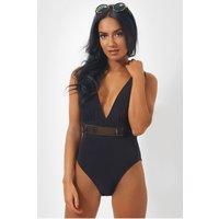 Gigi Gold Belted Black Bodysuit
