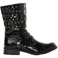 Studded Black Patent Croc Boots