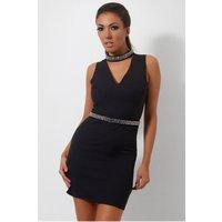 Black Embellished Choker Dress