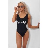 Squad Black Slogan Swimsuit