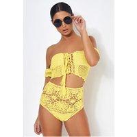 Yellow Bardot High Waisted Crochet Bikini
