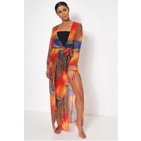 Saca Multicoloured Chiffon Maxi Dress