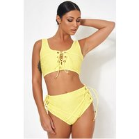 Cici Yellow High Waisted Lace Bikini