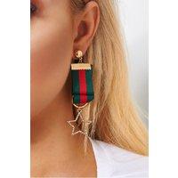 Ariella Red & Green Stripe Star Earrings