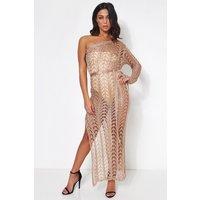 Gina Rose Gold Metallic Crochet Maxi Dress