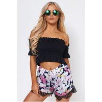 Lace Detail Floral Shorts