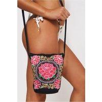 Boho Pink Embroidered Bucket Bag