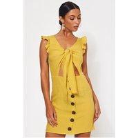 Lula Mustard Tie Front Button Dress
