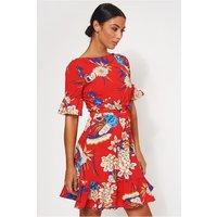 Red Floral Shift Dress