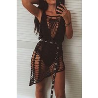 Azura Black Crochet Cover Up