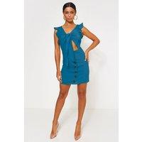 Lula Blue Tie Front Button Dress