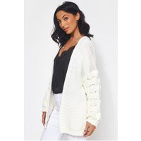 Alessa Chunky Knit Oversized White Cardigan