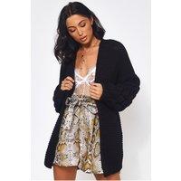 Alessa Chunky Knit Oversized Black Cardigan