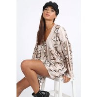 Nude Snakeskin Smock Dress