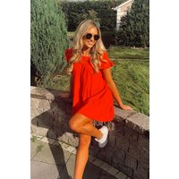 Monet Red Frill Smock Dress