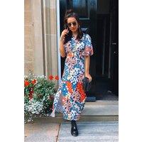 Chloe Orange Floral Cape Sleeve Maxi Dress