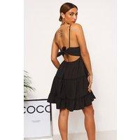 Linzi Black Crochet Frill Dress