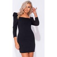 Shea Black Puff Sleeve Bodycon Dress