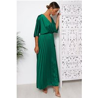 Green Cape Sleeve Satin Maxi Dress