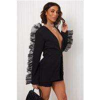 Lia Black Frill Sleeve Blazer Jacket and Short Set
