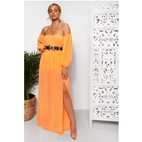 Nica Neon Orange Chiffon Maxi Dress
