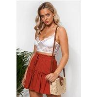 Rust Frill Mini Skirt