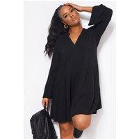 Polly Black Long Sleeve Smock Dress
