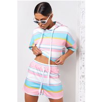 Candy Stripe Pink Hoodie Crop Top and Shorts Co-ord
