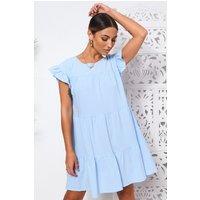 Monet Blue Frill Smock Dress