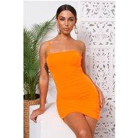 Hudson Orange One Shoulder Ruched Bodycon Dress
