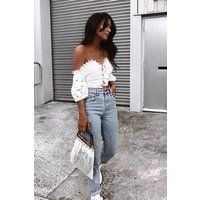 Amalfi White Lace Up Broderie Anglaise Bardot Top