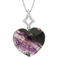 18ct White Gold Blue John 0.125ct Diamond Faceted Heart Necklace