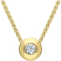18ct Yellow Gold Diamond Set Solitaire Necklace