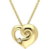 18ct Yellow Gold Diamond Heart Shell Necklace