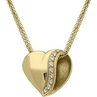 18ct Yellow Gold Diamond Folded Heart Necklace