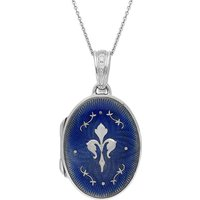 Faberge Victor Mayer 18ct White Gold Blue Enamel Crest Locket