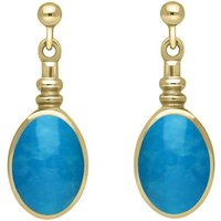 9ct Yellow Gold Turquoise Oval Bottle Top Drop Earrings