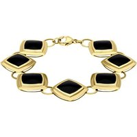 9ct Yellow Gold Whitby Jet 7 Stone Framed Cushion Bracelet