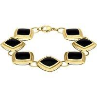 9ct Yellow Gold Whitby Jet 7 Stone Framed Cushion Bracelet