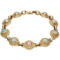 9ct Yellow Gold Opal Nine Stone Round Rope Edge Bracelet
