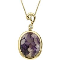 18ct Yellow Gold Blue John 0.02ct Diamond Faceted Oval Necklace