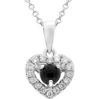 18ct White Gold Whitby Jet 0.13ct Diamond Claw Set Heart Necklace