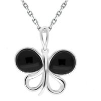 Sterling Silver Whitby Jet Two Stone Butterfly Necklace