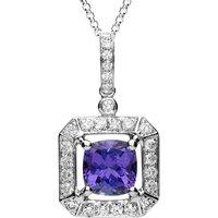 18ct White Gold 1.65ct Tanzanite 0.43 Carat Diamond Cluster Necklace