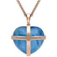 18ct Rose Gold Aquamarine Medium Cross Heart Necklace