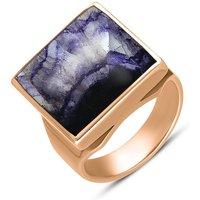 18ct Rose Gold Blue John Small Square Ring