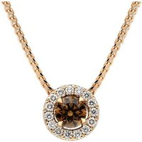 18ct Rose Gold Brown and White Diamond Round Cluster Pendant