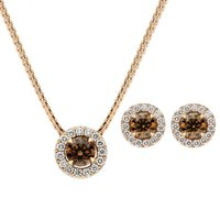18ct Rose Gold Brown and White Diamond Two Piece Gift Set